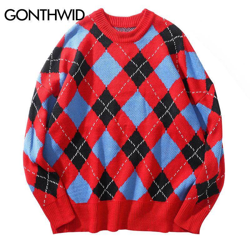 GONTHWID Mens Argyle Sweaters Casual Pullover Knitted Jumper Sweater 2019 Fashion Knitwear Sweaters Male Hip Hop Streetwear Tops