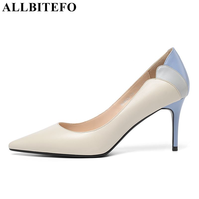 ALLBITEFO natural cow leather women high heel shoes woman mixed colors design spring fashion sexy comfortable