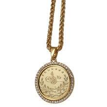 ZKD islam arabska moneta złoty kolor turcja monety kryształowy naszyjnik muzułmańskie monety osmańskie biżuteria