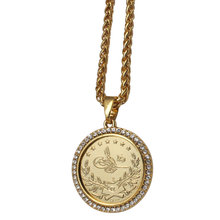 ZKD 이슬람 아랍 동전 골드 컬러 터키 동전 크리스탈 펜던트 목걸이 이슬람 오스만 동전 쥬얼리
