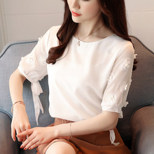 Short sleeved chiffon blouse, women's blouse, 2018 summer new Korean version, small and fresh sweater, shirt, woman.