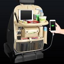 4 USB şarj aleti telefon altlığı sandalye depolama araba arka koltuk çantası katlanır masa organizatör çanta cep kutusu seyahat Stowing Tidying