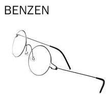 476f34bc1f74f7 BENZÈNE Sans Vis lunettes en titane Hommes Lunettes de Prescription Femmes  Ultra-Léger Ronde Myopie Optique Coréenne Lunettes Ca.