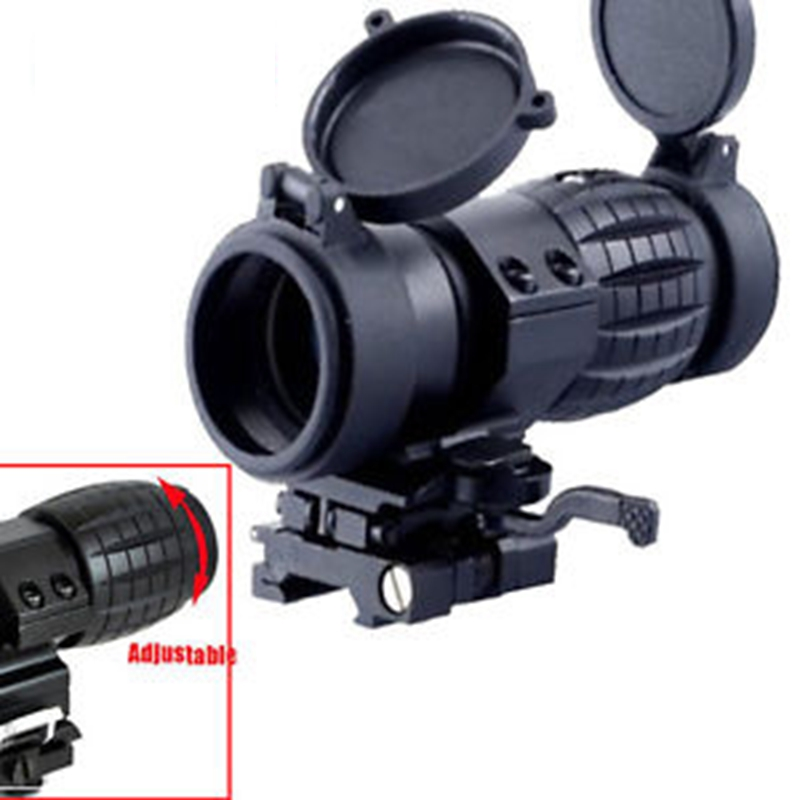 Hunting Scope 3X Magnifier riflescope Compact Tactical Sight with Flip to 20mm Rifle Gun Rail Mount