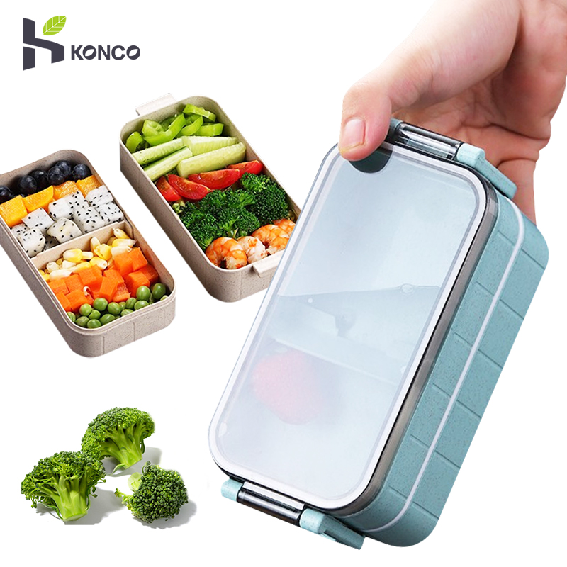 Konco Lunch Box Bento Box for Student Office Worker Double-layer Microwave Heating lunch container food storage container image
