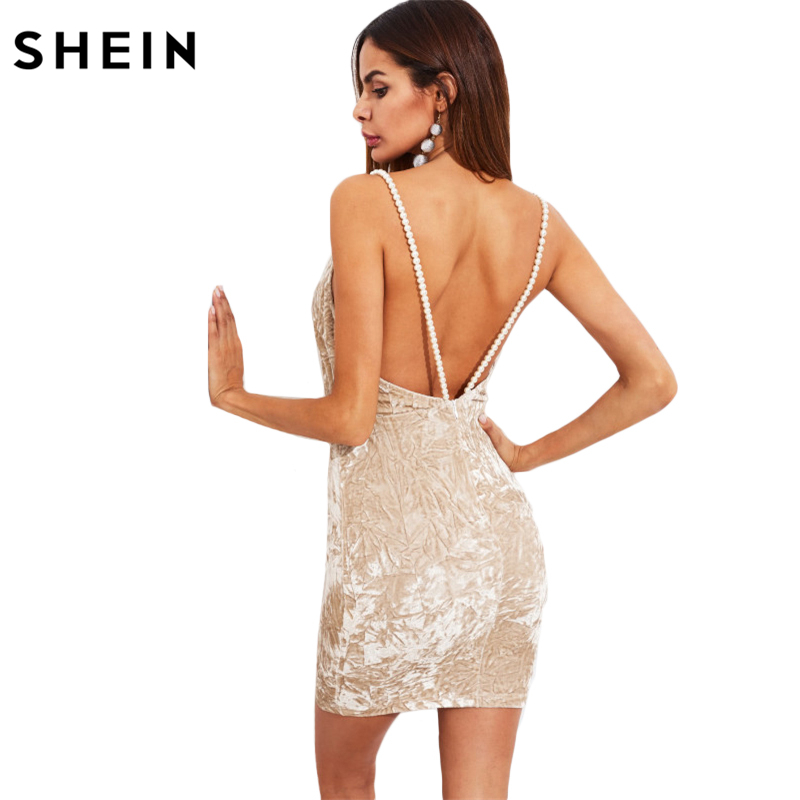 029f79ace98 SHEIN Pearl Beaded Strap Crushed Velvet Dress V Neck Sexy Club Dresses 2017 Apricot  Spaghetti Strap Bodycon Dress-in Dresses from Women s Clothing ...