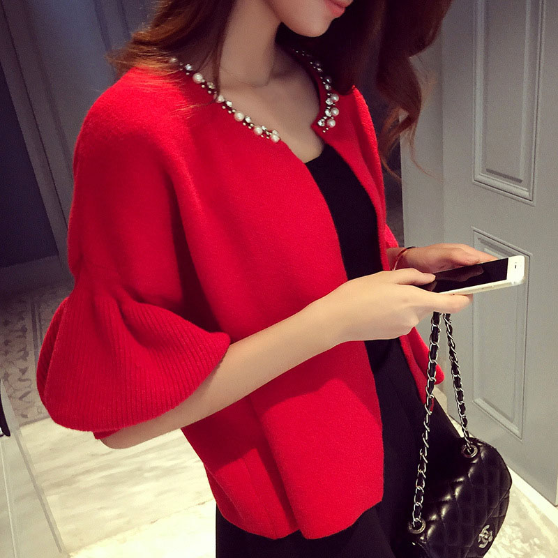 Short Cardigans Autumn Woman Coat 2019 Long Lantern Sleeve O-neck Knit Outwear Fashion Beading Red Woman Knitwear T6