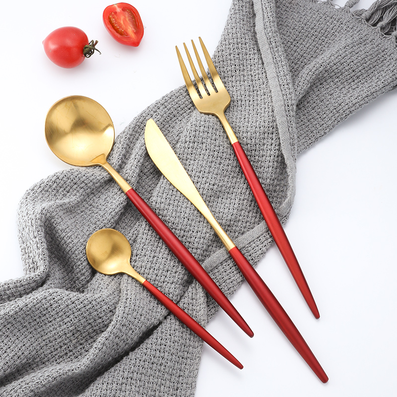 24PCS KuBac Hommi Red Gold 18 10 Stainless Steel Steak Knife Fork Party Cutlery Set Red