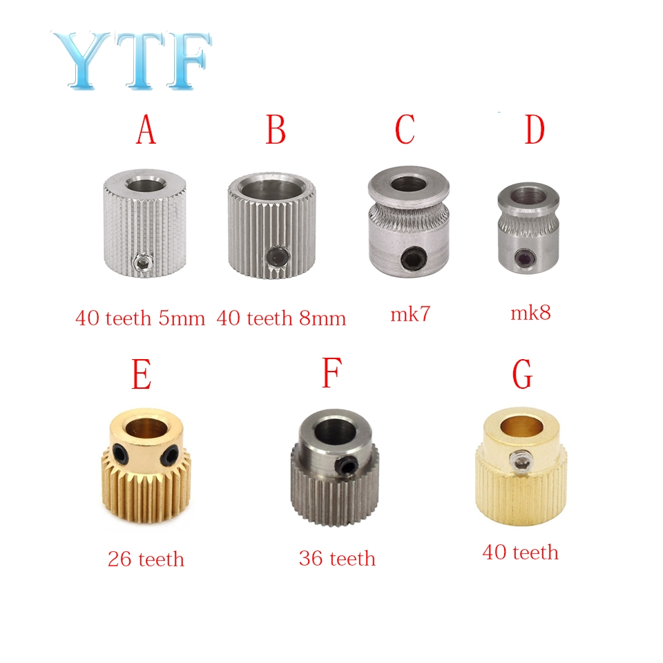 MK7 MK8 Extruder Drive Gear Bore 26/36/40 Teeth 5/8mm For 1.75/3.0mm   Teeth Brass Stainless Steel Drive Feeding