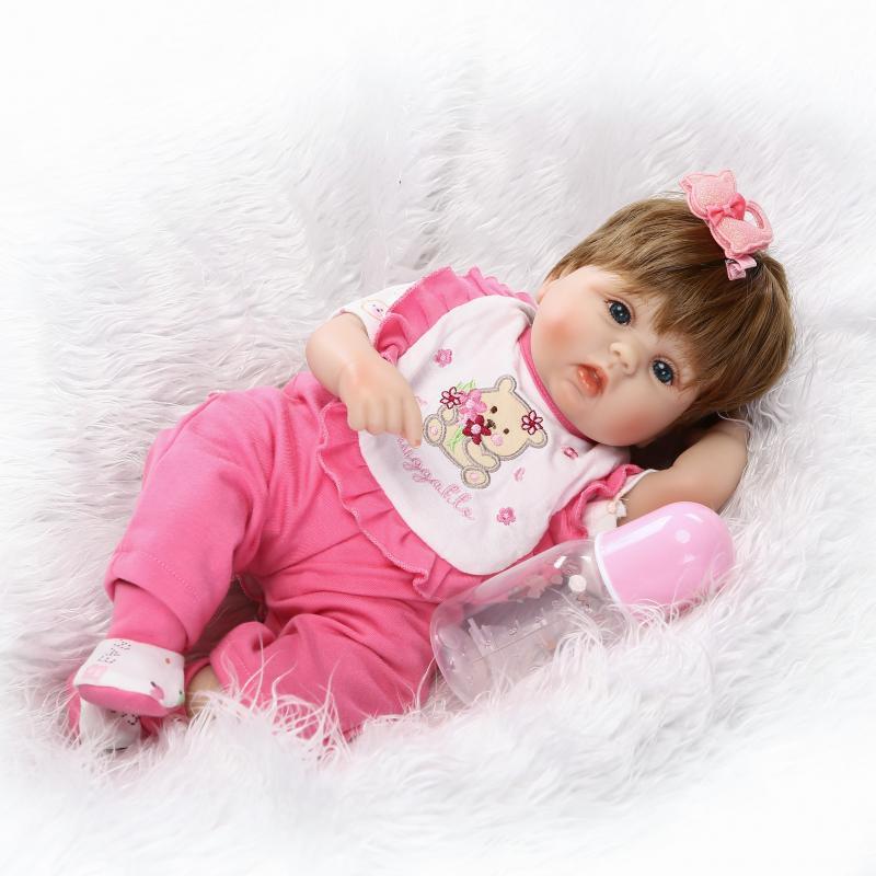 16 дюймов Reborn новорожденный Bay кукла может сидеть и лежать мягкого силикона реалистичным реалистичные принцессы для малышей для дня рождени...
