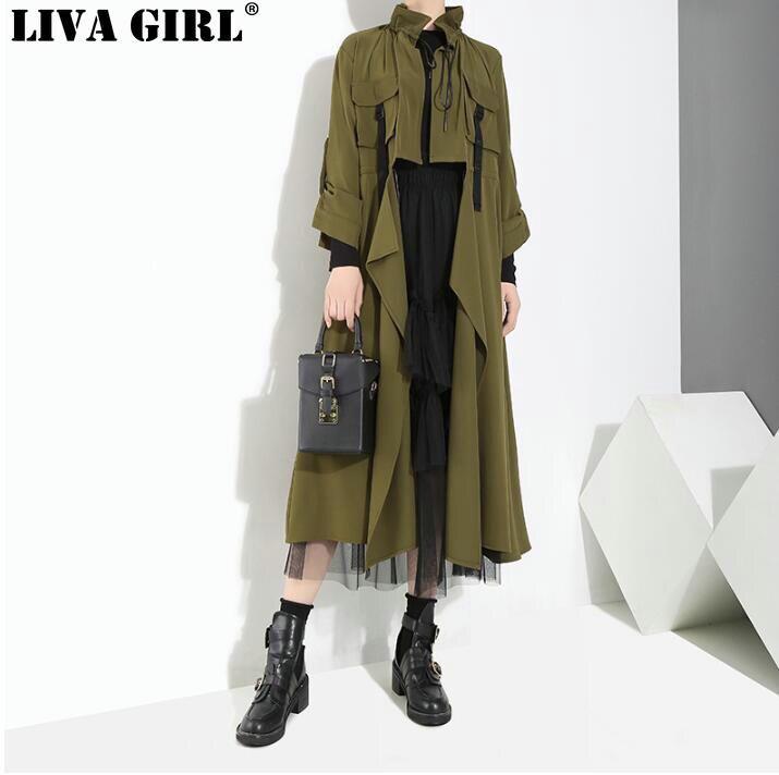 LIVA GIRL New Autumn Winter Stand Collar Drawstring Army Green Irregular Stitching Long Windbreaker Women Fashion   Trench