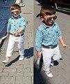 Moda de manga Larga azul Camisa A Cuadros + pantalones + cinturón blanco 3 unidades caballero trajes niños que arropan el sistema niños ropa muchachos DY108A
