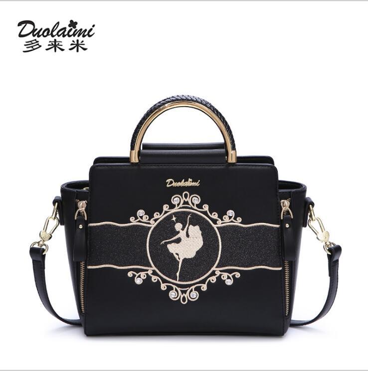 DUOLAIMI New Arrival Black Dancer Girl Embroidery Cartoon BlingBling Women s Handbag Tote Bolsa Feminina Saddle