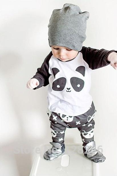 2017 Autumn New baby boy clothes long-sleeved cartoon panda T shirt+pants 2pcs newborn clothes baby girl clothing set
