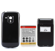 3500mAh Extended Backup Phoe Battery For Samsung Galaxy S3 Mini i8190 with Back Cover and Wall charger Free Shipping wholesale