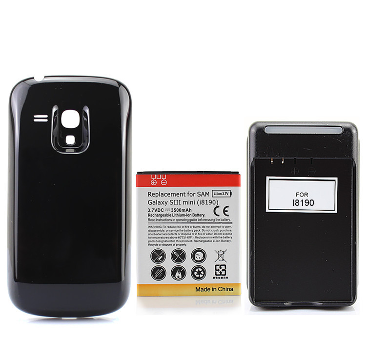 New 3500mAh Extended Backup Phone <font><b>Battery</b></font> for Samsung Galaxy S3 Mini S3Mini <font><b>i8190</b></font> Rechargeable <font><b>batteries</b></font> <font><b>Back</b></font> Cover Wall charger image