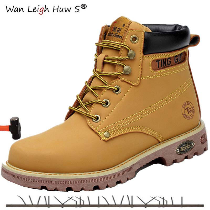 37 45 Genuine Leather Men Steel Toe Cap Dr Martin Boots Autumn Winter Work Safety Boots Solid Ankle Boots Punk Men Safety Shoes in Snow Boots from Shoes