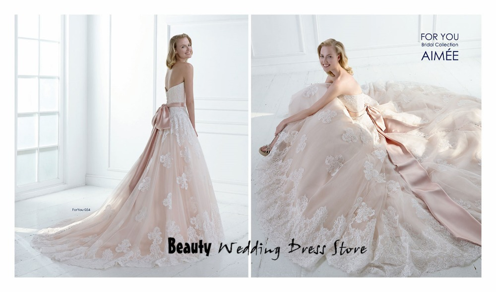 Custom Made 2015 Blush Pink Lace Wedding Dress A Line Bridal Gown ...