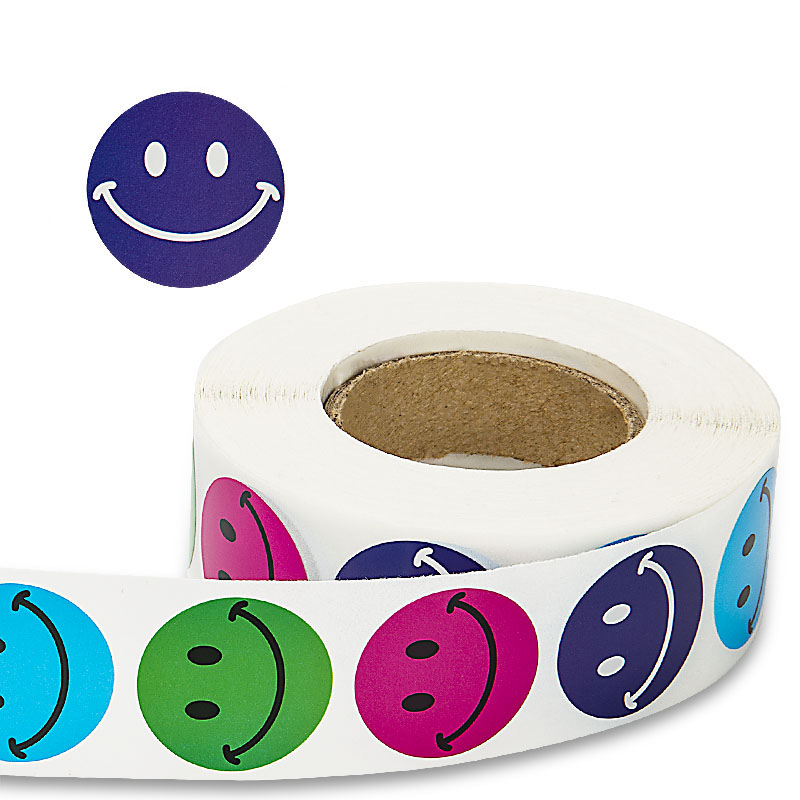 500 Labels Per Roll Cute Round Smiley Face Stickers For Seal Labels Adhesive Reward Sticker For Children Decoration Party