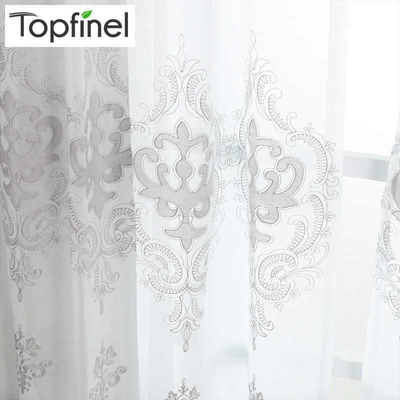 Topfienl® Роскошный Дворец Белый Вышитые Цветочные Занавески для Гостиной Спальня Тюль Пряжи Дверь Занавес Окна для Кухни Дома