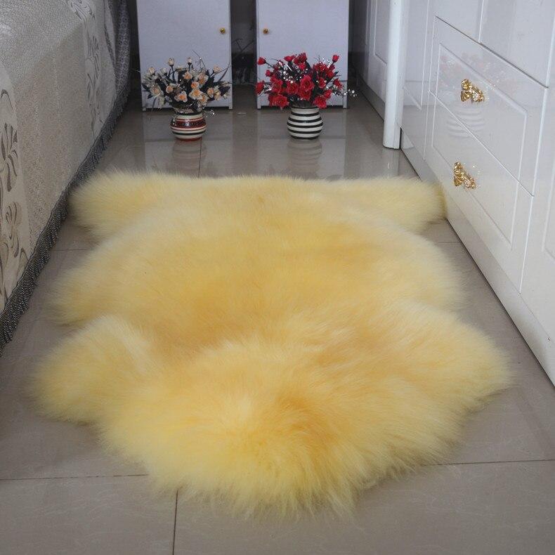 Véritable laine tapis fourrure canapé coussin fenêtre Pad Whoel peau de mouton salon tapis tapis de sol décor à la maison chevet tapis Karpet UDW01