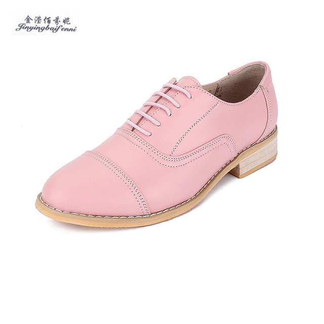 ed2f232d7d6d0 8 color options Custom Big size Women's shoes Fashion style Genuine leather  brand Flat shoes for women Lace up Brogues Oxfords-in Women's Flats from ...