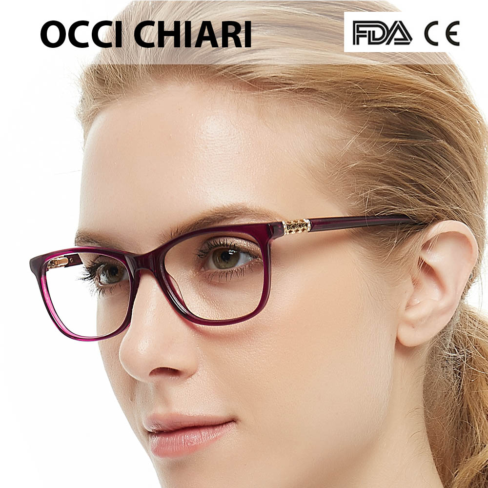 Image 3 - OCCI CHIARI Vintage Myopia Glasses Frames Women Anti Blue Ray Computer Eyewear Diamond Spring Hinge Optical Spectacles Frame-in Women's Eyewear Frames from Apparel Accessories