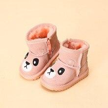 SIZE21-25 Сезон Зима 2016 новые детские зимние сапоги животных дети кожаные ботинки теплая обувь с мехом принцессы для маленьких девочек зимняя обувь