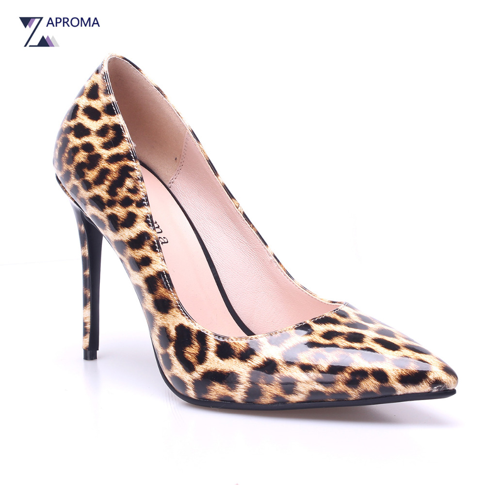 Classic Sexy Leopard Pointed Toe Women Thin Heel Pumps Shallow Mature Super High Heel Party Slip On Shoes Prom PU Tacones 11cm цена