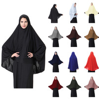 2019 Extra Long head scarf wrap muslim women Hijabs neck cover prayer silk scarf shawl ladies hats inner underscarf caps black