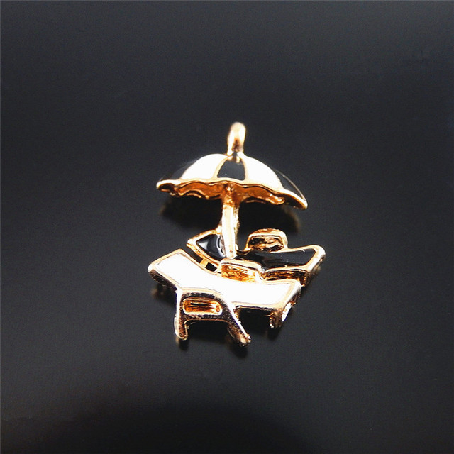 10pcs Unisex Imitation Rose Gold Beach Deck Chair Jewelry Pendants