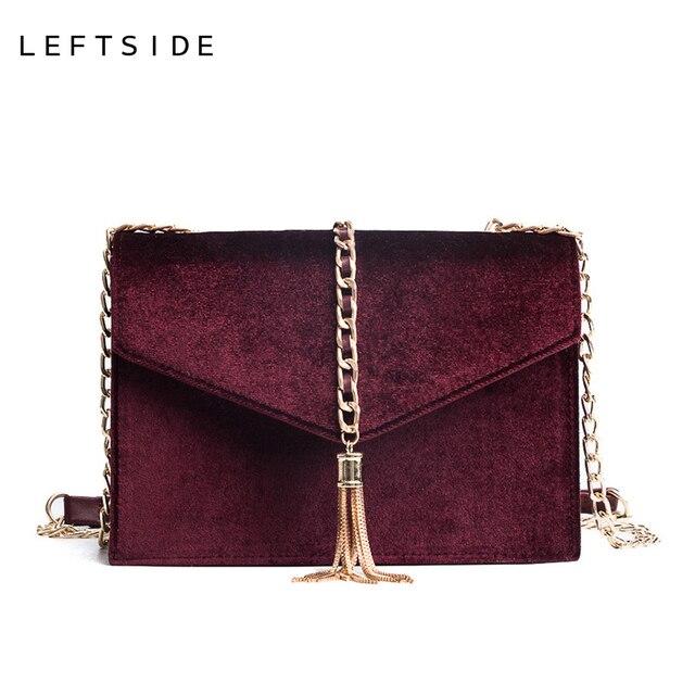 896f1b949b LEFTSIDE Small Tassel Chain Faux Leather Suede Cross Body Bags For Women  Velvet Flap Envelope Hand Bag Shoulder Handbags 2018
