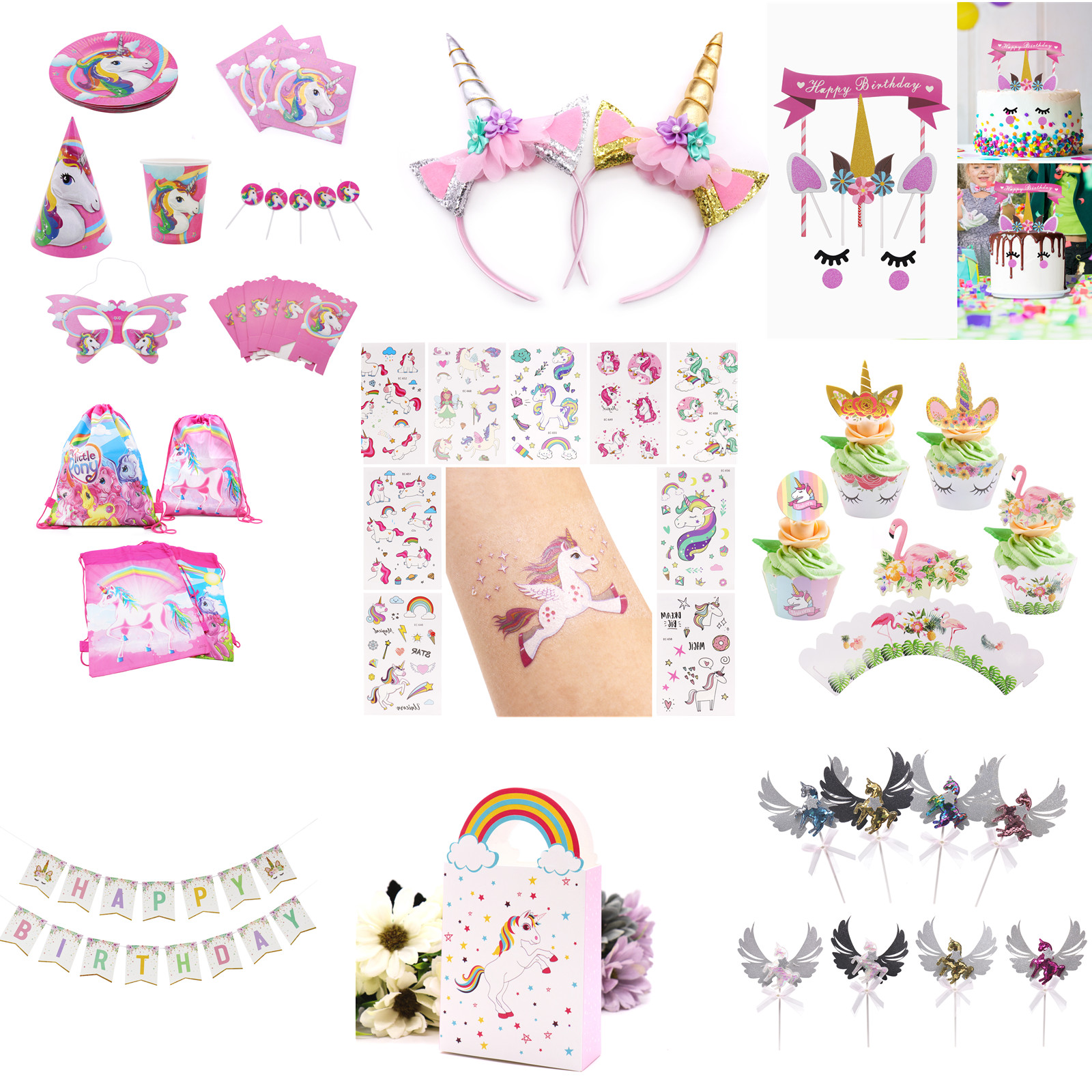 Online Shop Birthday Unicorn Party Photo Booth Props/Flag/Unicorn Tattoo Sticker/Birthday Party Decor Kids Baby Shower Eenhoorn Party Supply | Aliexpress Mobile