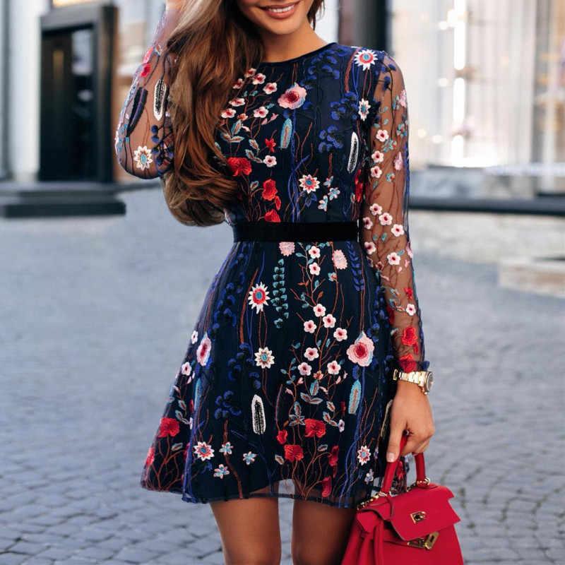 2019 женское мини-платье с цветочным принтом, ТРАПЕЦИЕВИДНОЕ Сетчатое платье бохо, офисное женское повседневное кружевное платье с длинными рукавами и вышивкой
