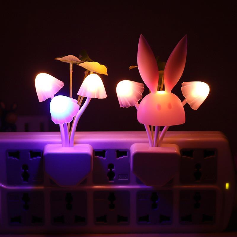 LED Mushroom Rabbit Night Light US & EU plug Smart Light ...