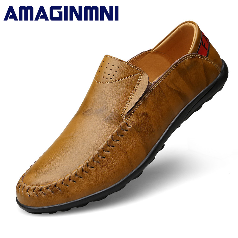 AMAGINMNI fashion men shoes soft leather flat shoes casual slip on moccasins men loafers hight quality driving flats shoes amaginmni summer style soft moccasins men loafers high quality genuine leather shoes men flats driving shoes casual shoes men