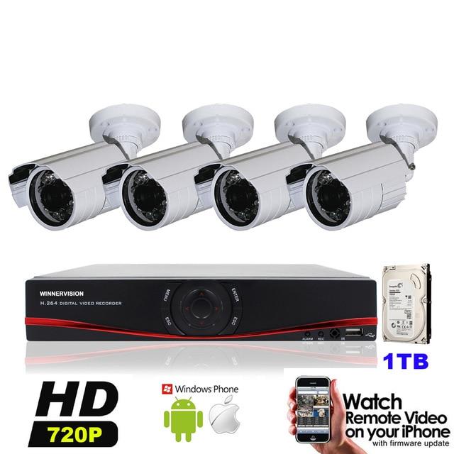 AHD 720P 1MP IR CUT Outdoor Waterproof Security CCTV Camera IR HD 4CH AHD DVR Video Surveillance System Kits 1TB HDD