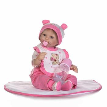 40cm Handmade Lifelike Lovely Newborn Baby Girl with Feeding-bottle and Pacifier Silicone Baby Reborn Doll Kids Toy Gifts
