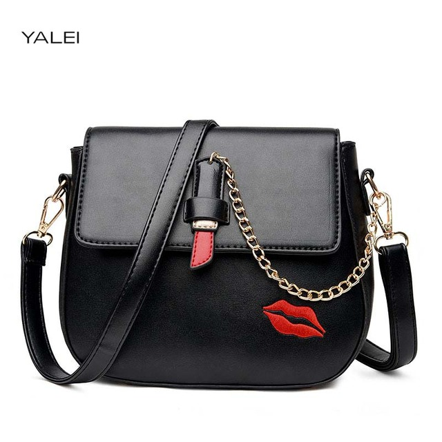 Yalei Best Luxury Brand Handbags Spring Women Leather Chian Bags Designer Embroidered Lipstick Print Shoulder Messenger