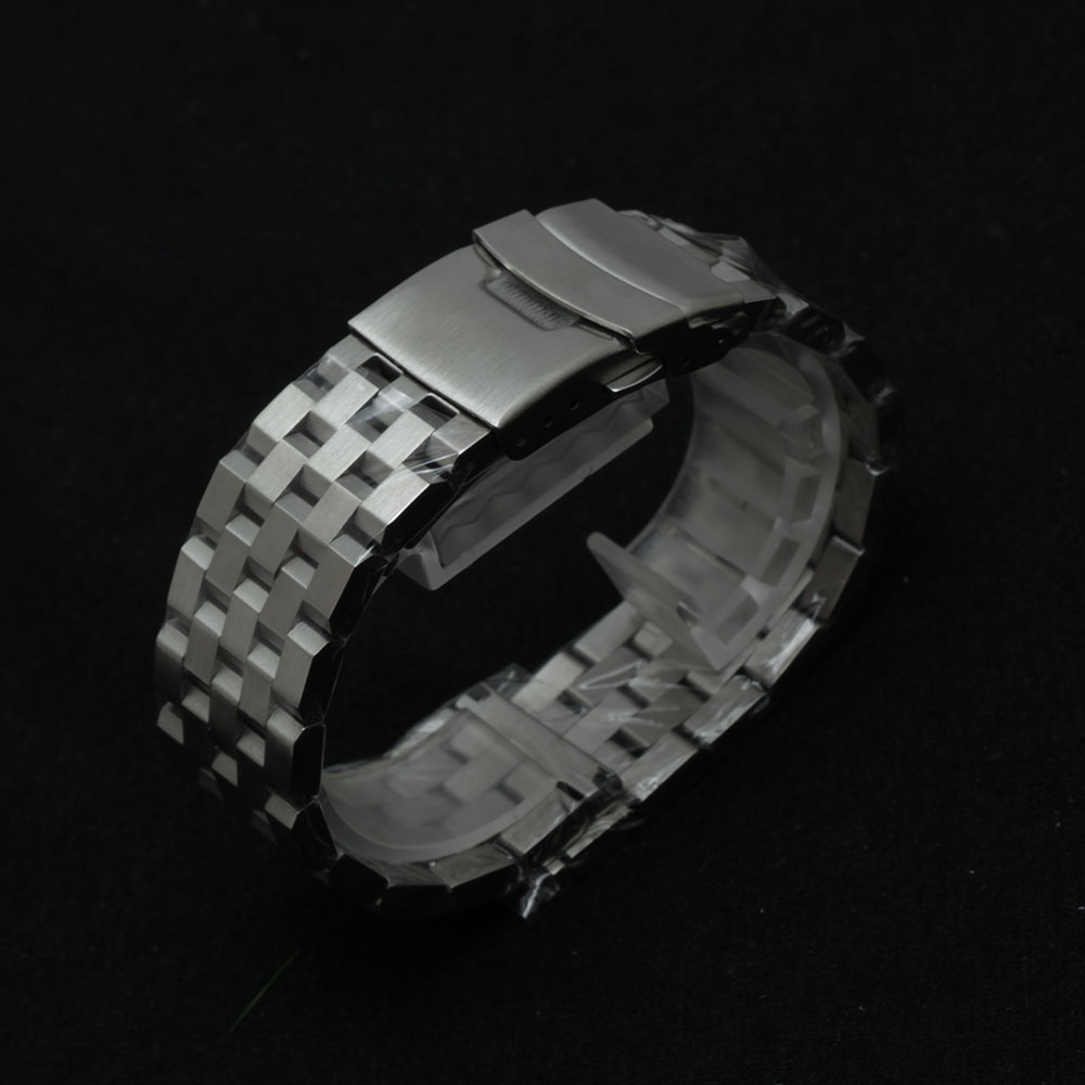 18mm 20mm 22mm 24mm 26mm Silver Watchband Bracelet Strap Unpolished matte Stainless steel wrist BUCKLE Watch Band for men women image