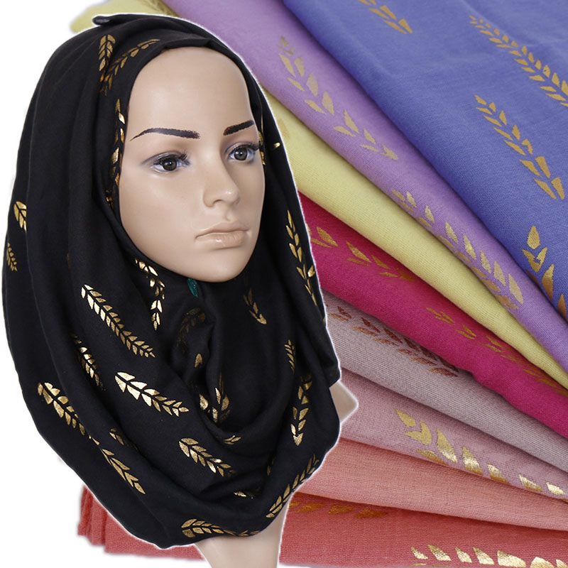 Women Glitter Floral Hijab Scarf Cotton Muslim Shimmer Flower Scarves Wraps Headband Shawls 10pcs/lot 18 Color
