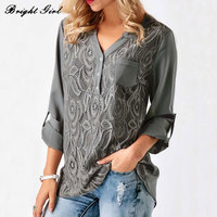 BRIGHT GIRL Women Shirt Summer Casual Blouses Tops V Neck Loose Shirts Fashion Brand Woman Office