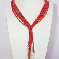 Fashion Pink Orange Coral 5mm Round Beads White Natural Pearl 3 Strands Charms Scarf Necklace 50inch