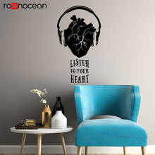 Creative Inspirational Quote Vinyl Wall Decal Music Heart Headphones Musical Inspire Stickers Mural Removable Home Decor 3208