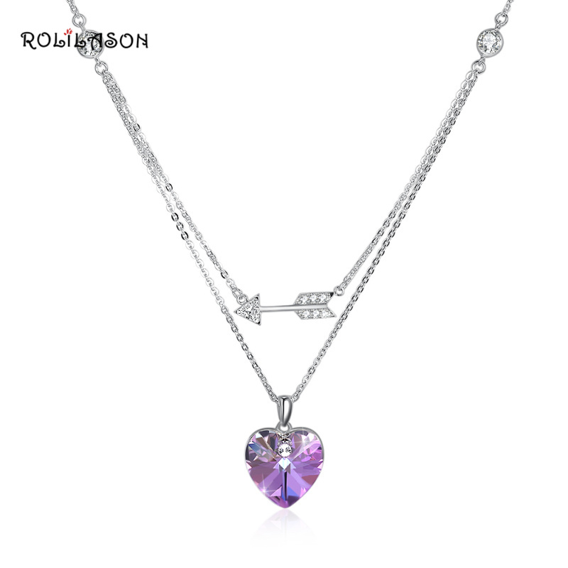 ROLILASON minimalist design 925 sterling silver pink heart-shaped zircon pendant necklace party gift SP75 zea sl814 1y women s eiffel tower shaped zinc alloy zircon pendant necklace silver