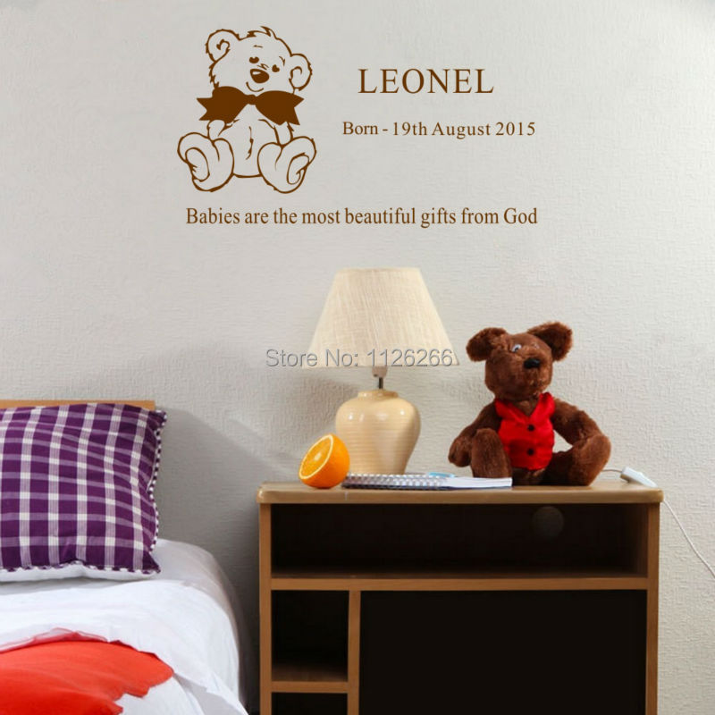 Custom Any Kids Name Personalized Teddy Bear Wall Decal Cartoon Sticker Children Room Decor In Stickers From Home Garden On Aliexpress