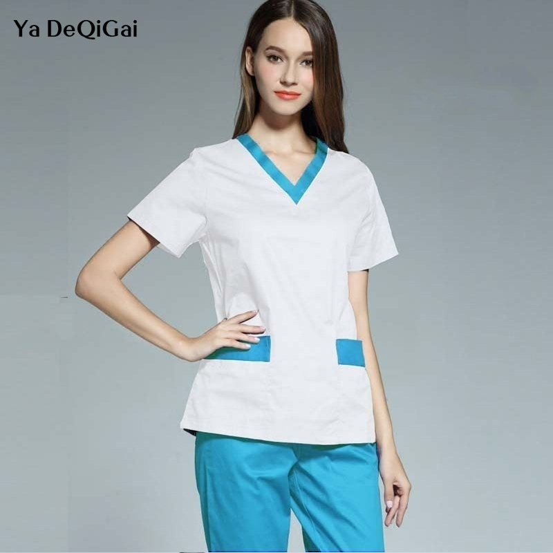 Medical scrubs Set dental clinic uniforms white Nursing Uniforms Medical Clothing Dentistry Nurse doctor Surgical Gown woman new