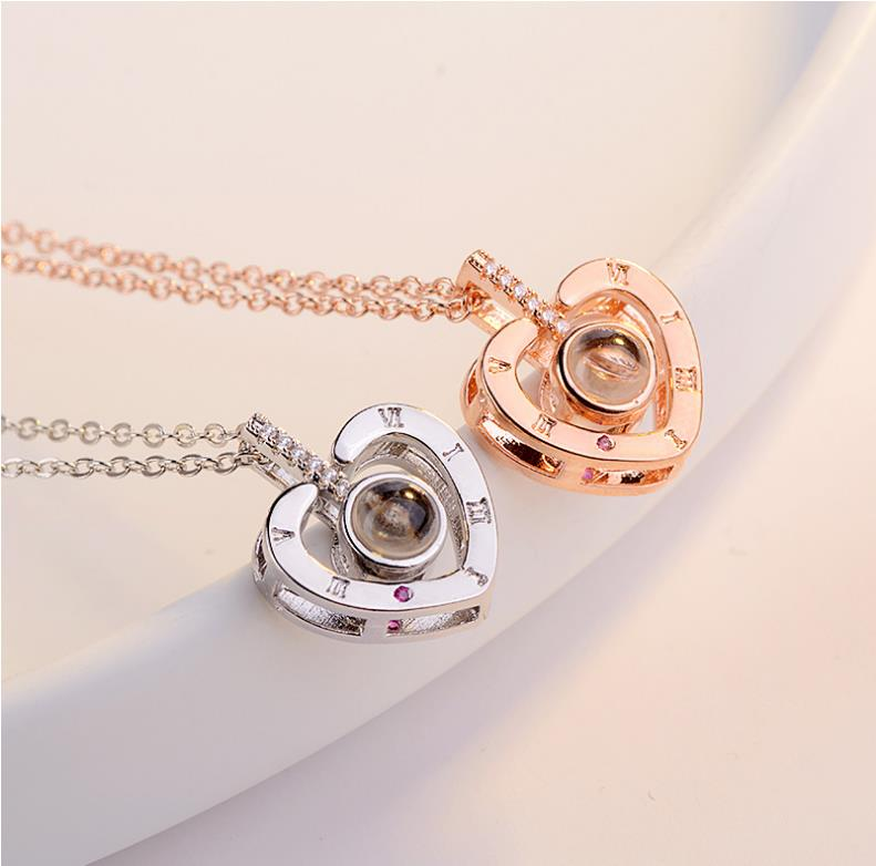 TJP Vintage Women 925 Sterling Silver Clavicle Necklace Jewelry Trendy Zircon Letter Heart Pendant Necklace Girls Birthday Gift in Pendant Necklaces from Jewelry Accessories
