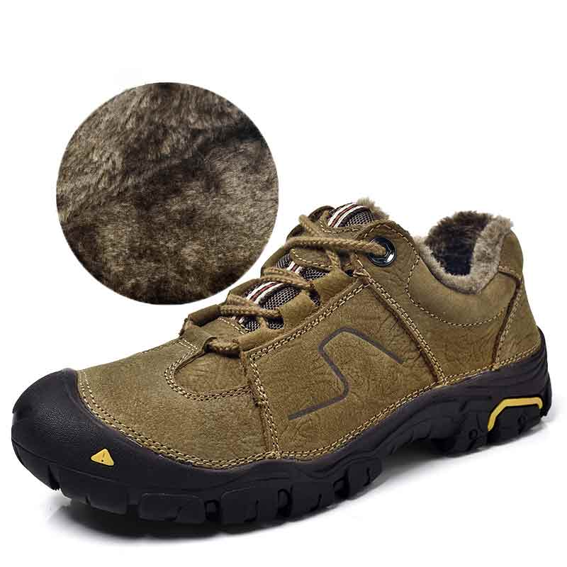 Winter Hiking Shoes Black Sneakers Men Leather Shoe Boot Genuine Leather Khaki Outdoor Brown Non Slip Plus Velvet Keep Warm Shoe mulinsen winter men s sports hiking shoes blue brown khaki sport shoes inside plush wear non slip outdoor sneaker 240888