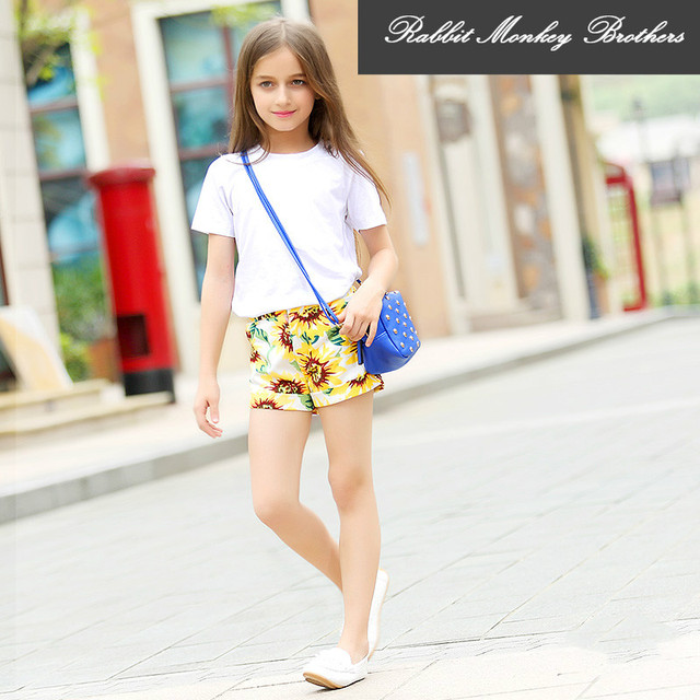 RMBkids New children s clothing Young girl shorts Teen Girls summer     RMBkids New children s clothing Young girl shorts Teen Girls summer shorts  Casual sunflower floral pants for